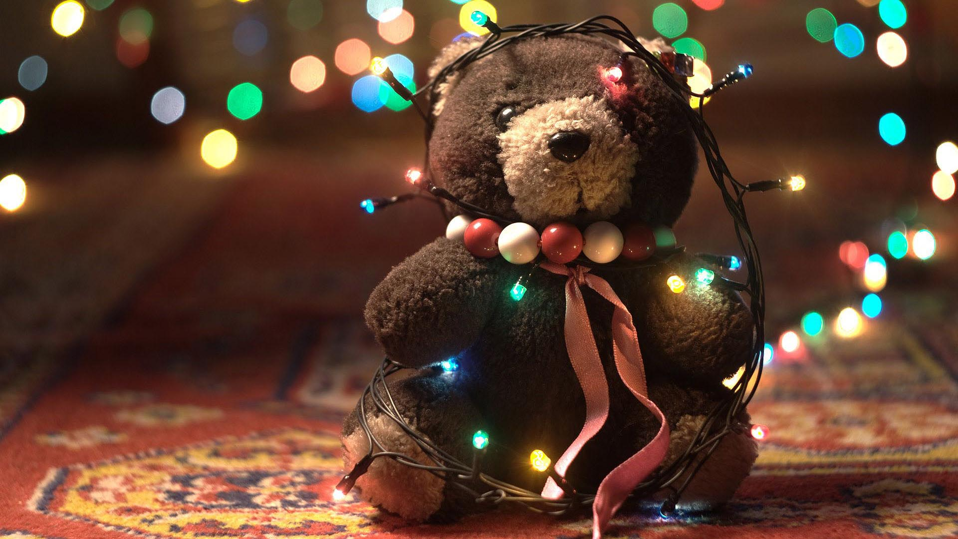Christmas Teddy Bear Wallpaper: Christmas Lights Wallpapers